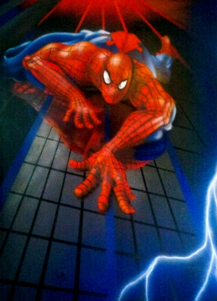 dessin sur mur spiderman