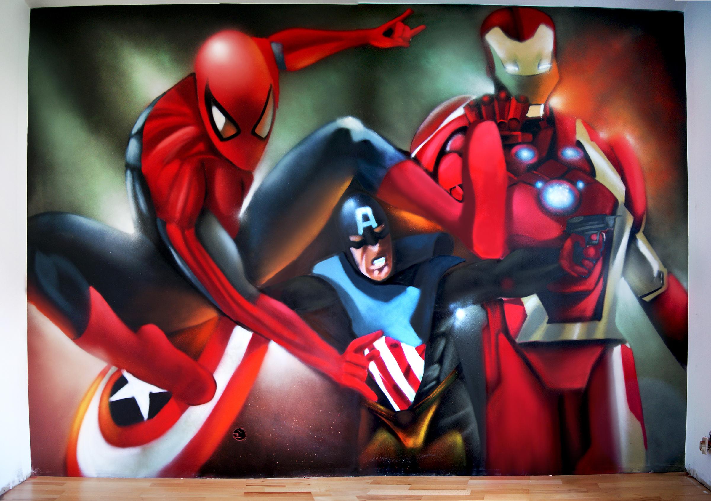 Chambre Garcon Super Heros : Graff super heros chambre d enfant decograffik
