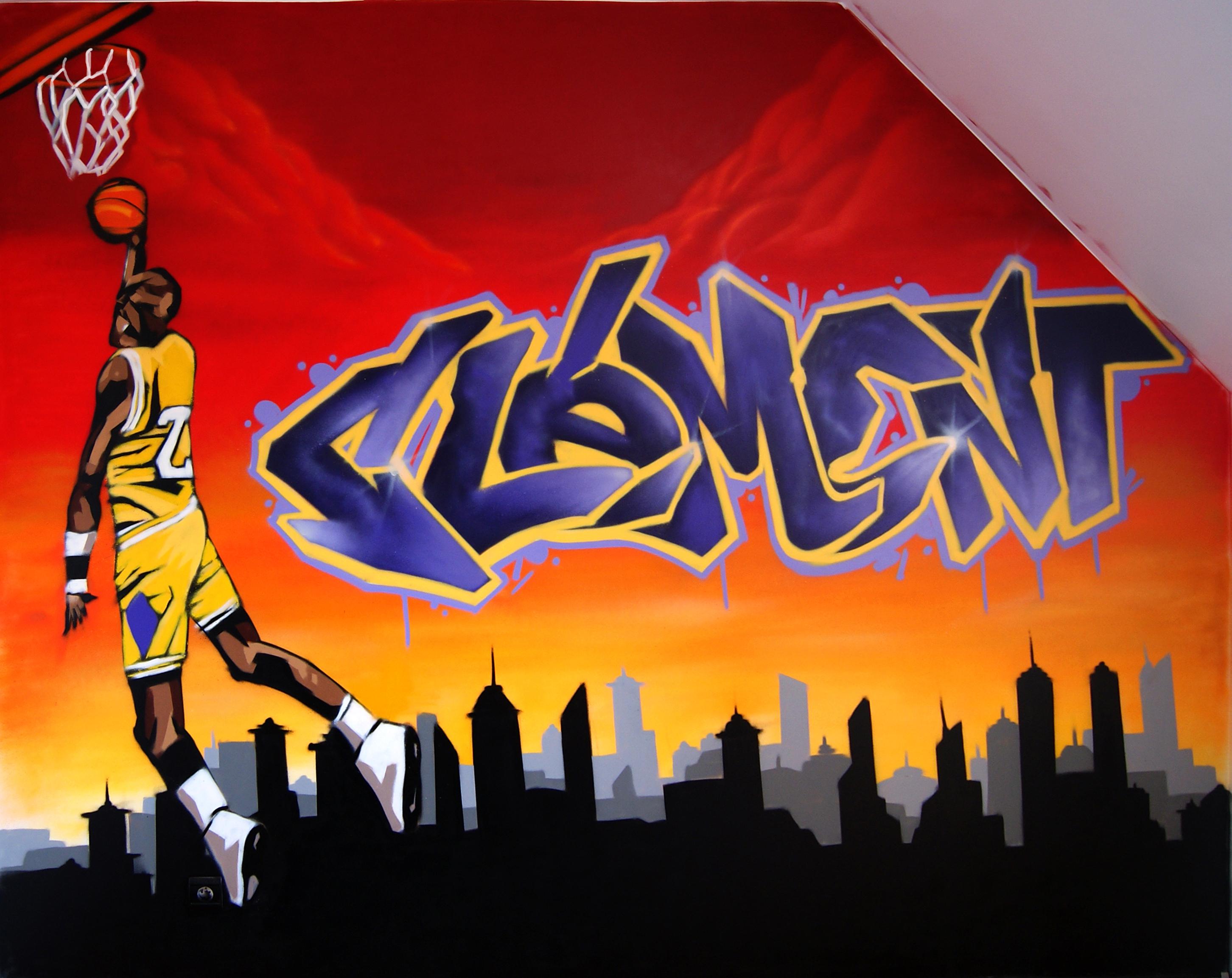 Chambre d enfant decograffik deco graff fresque murale deco cha - Deco basketball chambre ...