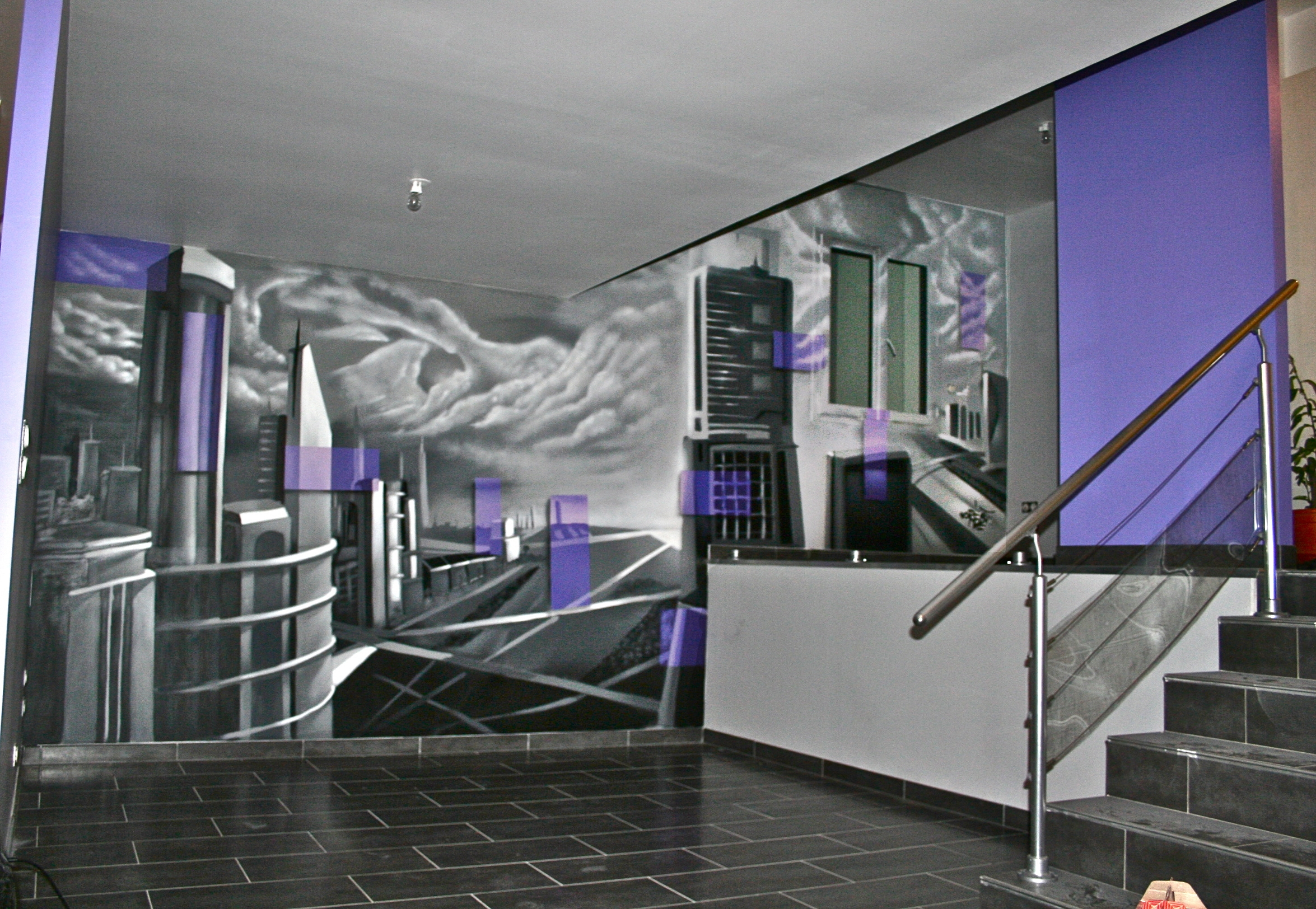 Decor murale ville decograffik deco graff bureaux for Decoration murale ville