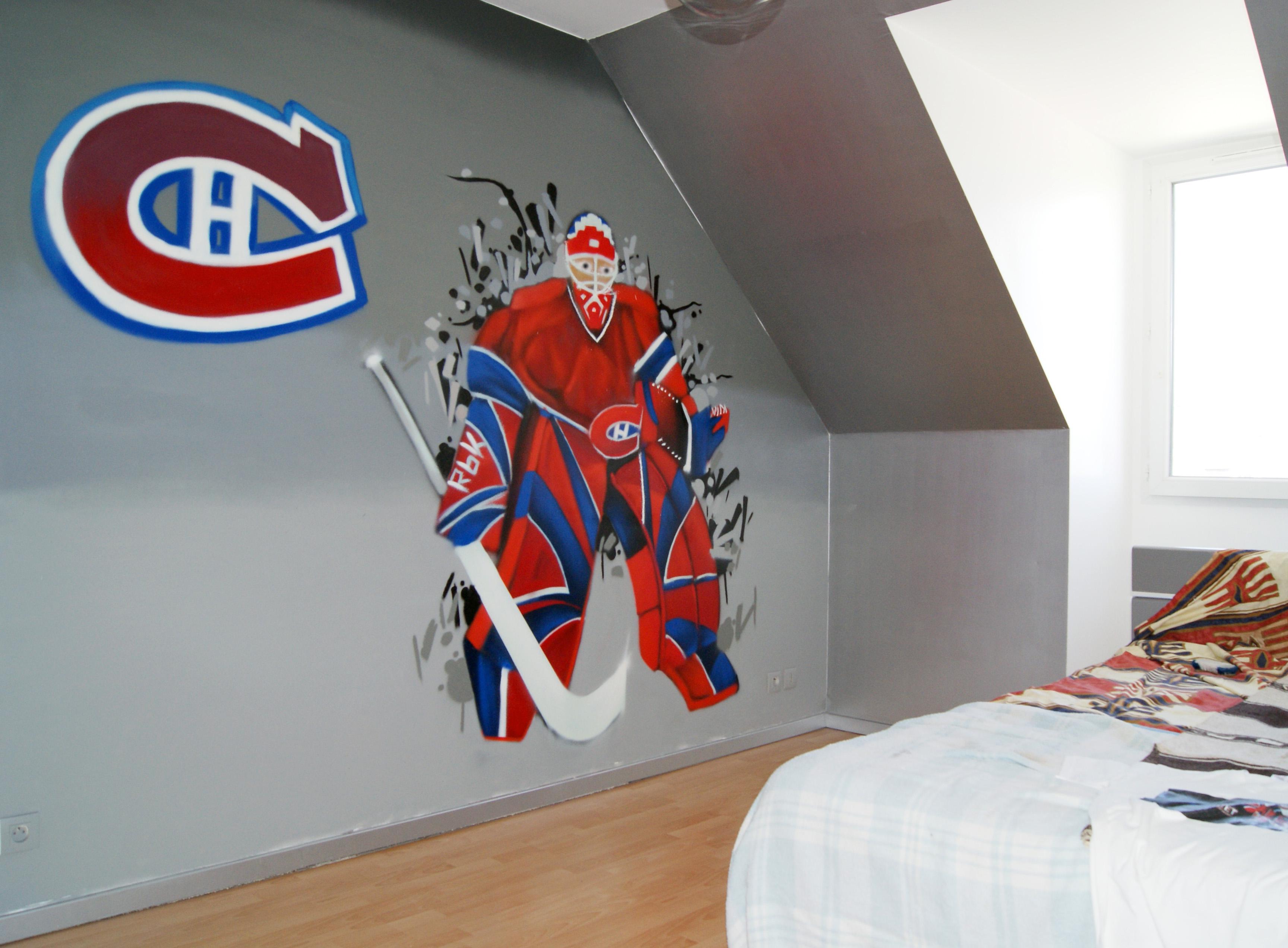 Graff th¨me hockey – DECOGRAFFIK deco graff bureaux entreprise