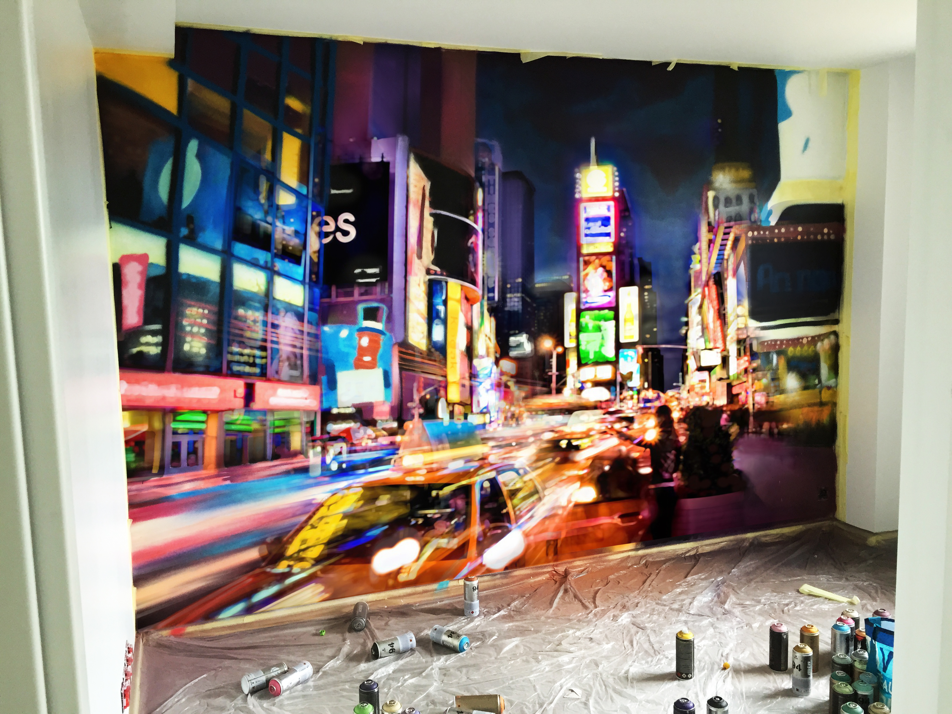 Chambre new york graffiti time square decograffik deco for Deco de chambre new york