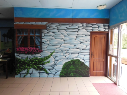fresque murale aerosol restaurant