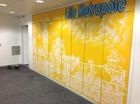 decoration murale couloir de bureau graff Lille