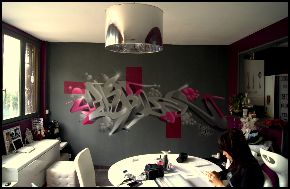 Deco murale design salon decograffik deco graff bureaux for Peinture mur salon design