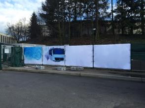 preparation et traitement des baches / execution de la fresque murale