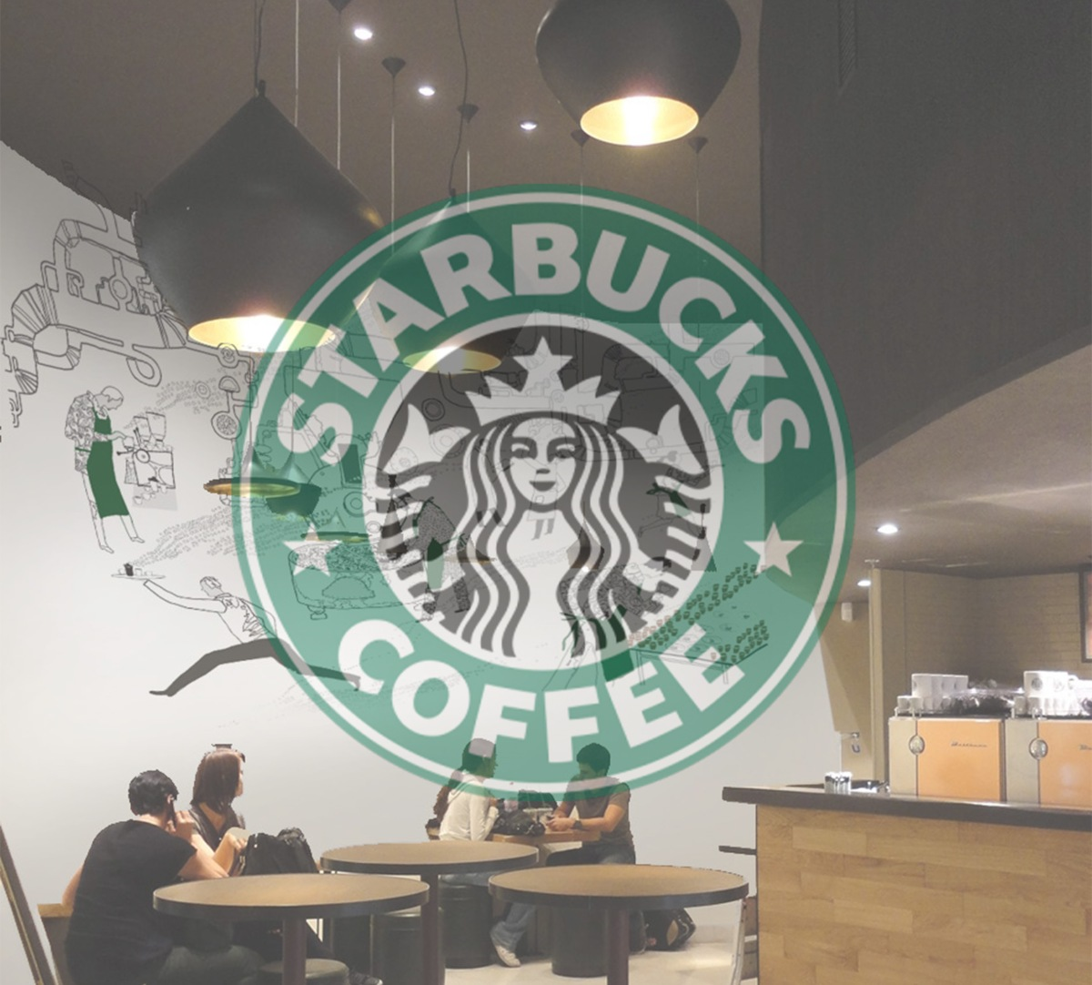 starbucks coffee decograffik deco graff bureaux entreprise deco design mural hall d 39 accueil. Black Bedroom Furniture Sets. Home Design Ideas
